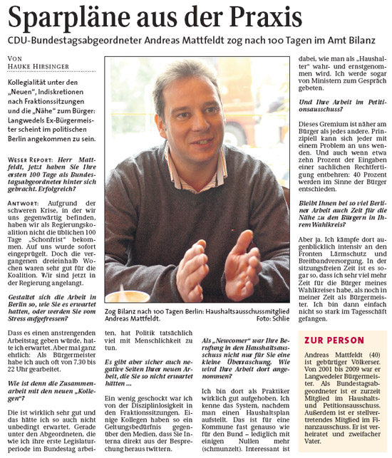 MdB Andreas Mattfeldt: 100 Tage – Bilanz im Bundestag