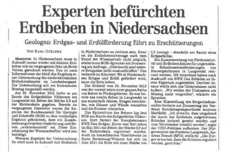 Experten befürchten Erdbeben in Niedersachsen