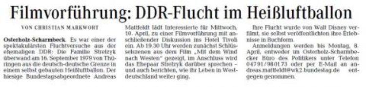 Filmvorführung: DDR-Flucht im Heißluftballon