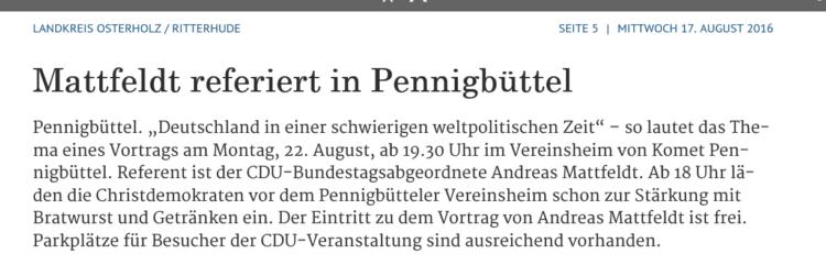 Mattfeldt referiert in Pennigbüttel