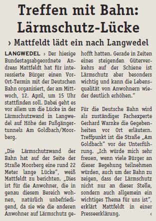 Treffen mit Bahn: Lärmschutzlücke in Langwedel