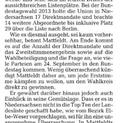 Mattfeldt: Platz 20 ist nicht sicher