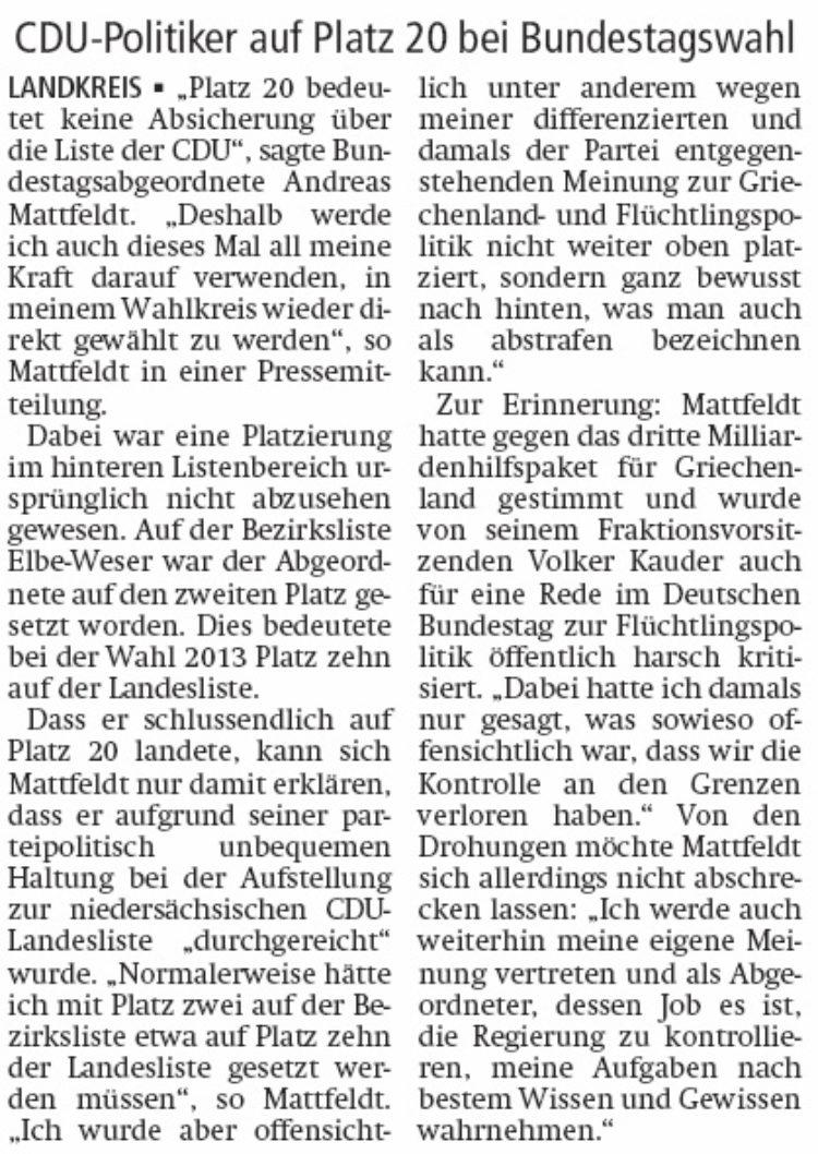 """Mattfeldt wird auf Liste """"durchgereicht"""""""