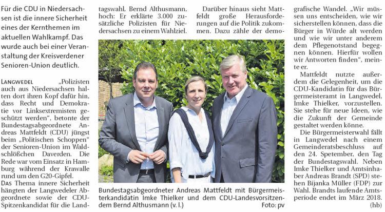CDU will Polizei im Land verstärken