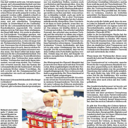 Der FIBRONIL-SKANDAL, Bundeslandwirtschaftsminister Christian Schmidt im Interview