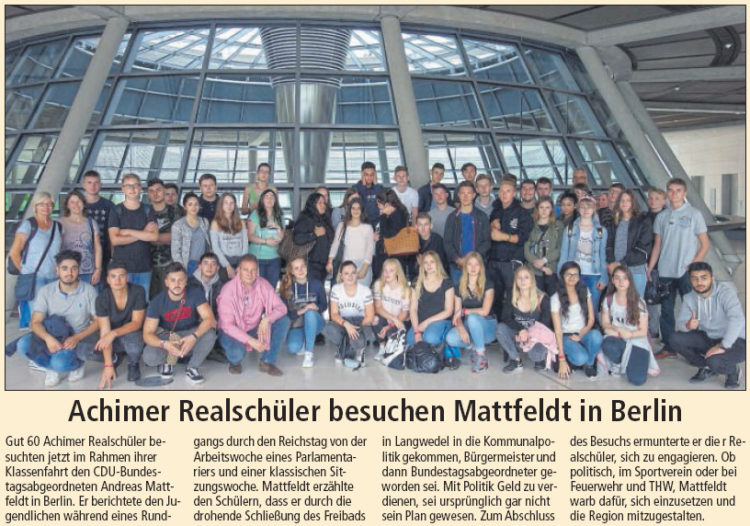 Realschüler aus Achim besuchen MdB