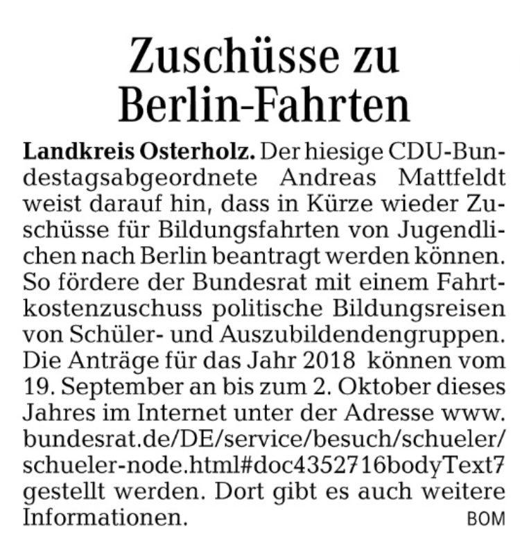 Zuschüsse für Berlin-Fahrten