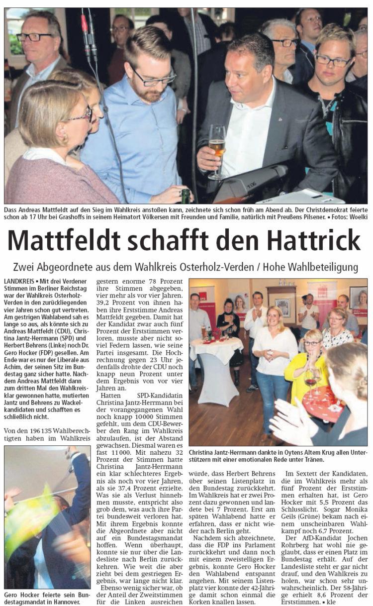 Mattfeldt schafft den Hattrick