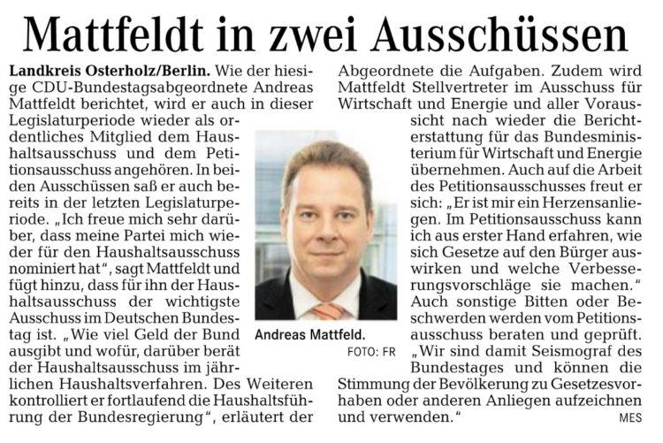 Mattfeldt in zwei Ausschüssen