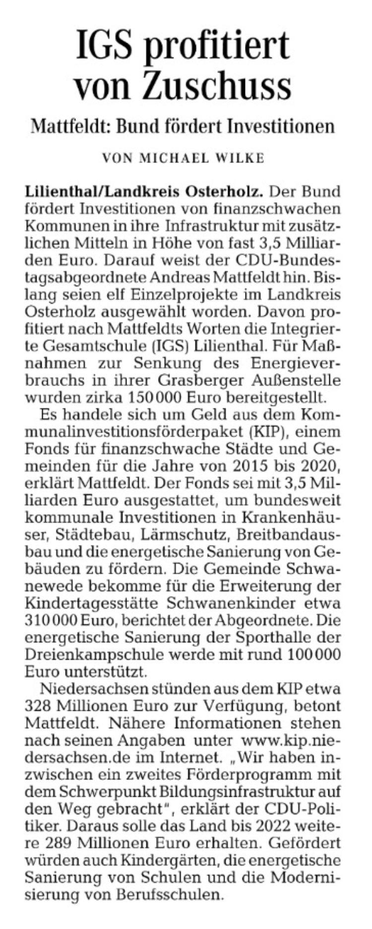 Bundesmittel für die IGS