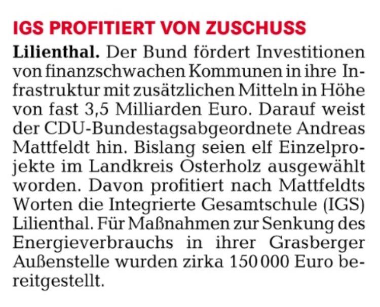 Bundesmittel für Ostkreis-IGS