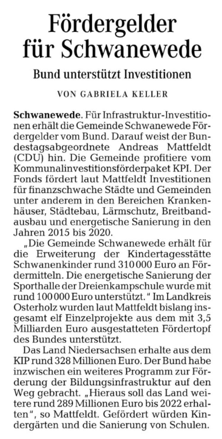 Fördermittel des Bundes für Schwanewede