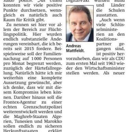 Mattfeldt kommentiert Koalitionsvertrag