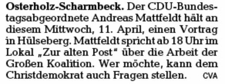 Mattfeldt informiert über  Arbeit