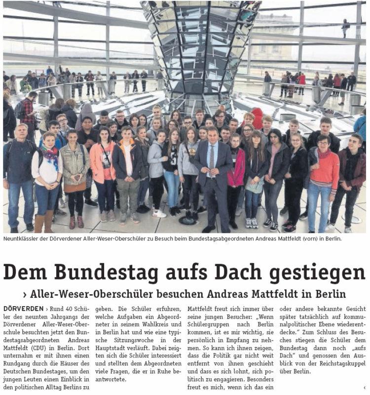 Aller-Weser-Oberschüler besuchen Mattfeldt