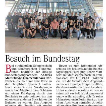 Dörverdener Oberschüler im Bundestag