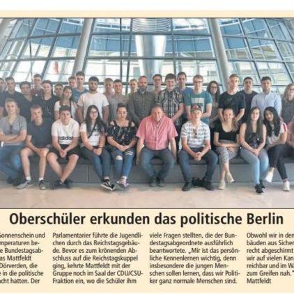 Dörverdener Oberschüler erkunden den Reichstag