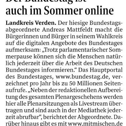 Digitale Informationen über den Bundestag