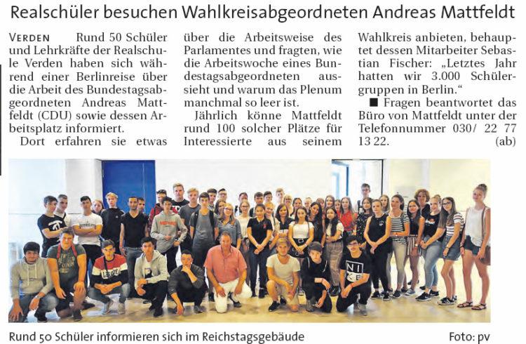 Bundestag statt Schulbank