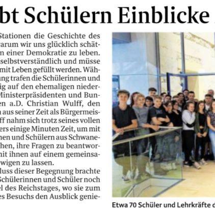 Waldschüler aus Schwanewede zu Besuch in Berlin