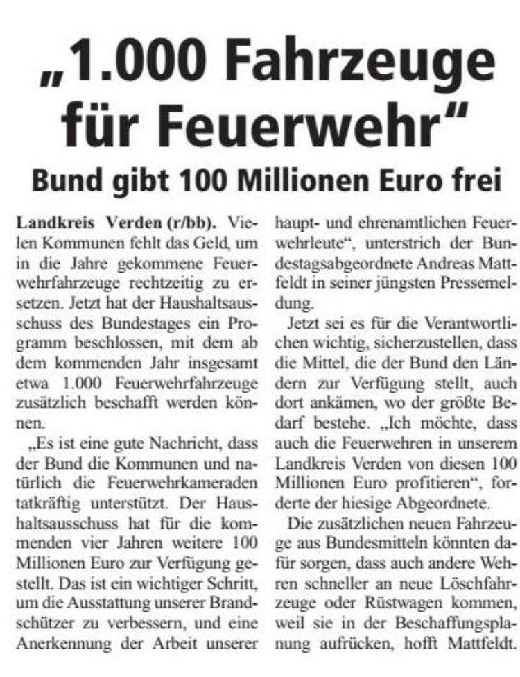 Bund gibt Geld für 1000 neue Feuerwehrfahrzeuge