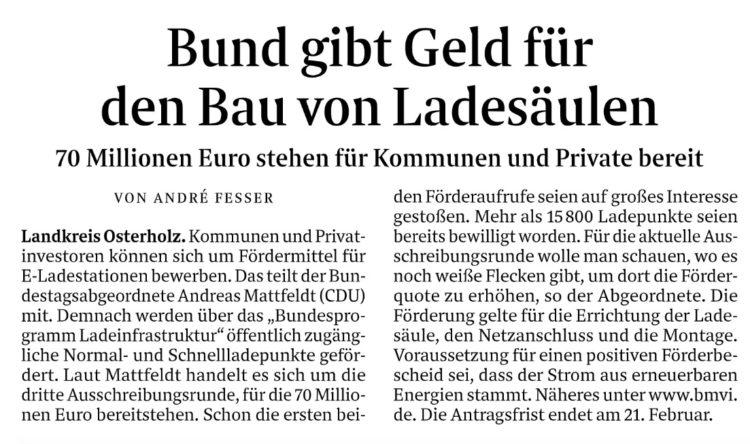 Bund gibt Geld für Ladesäulen