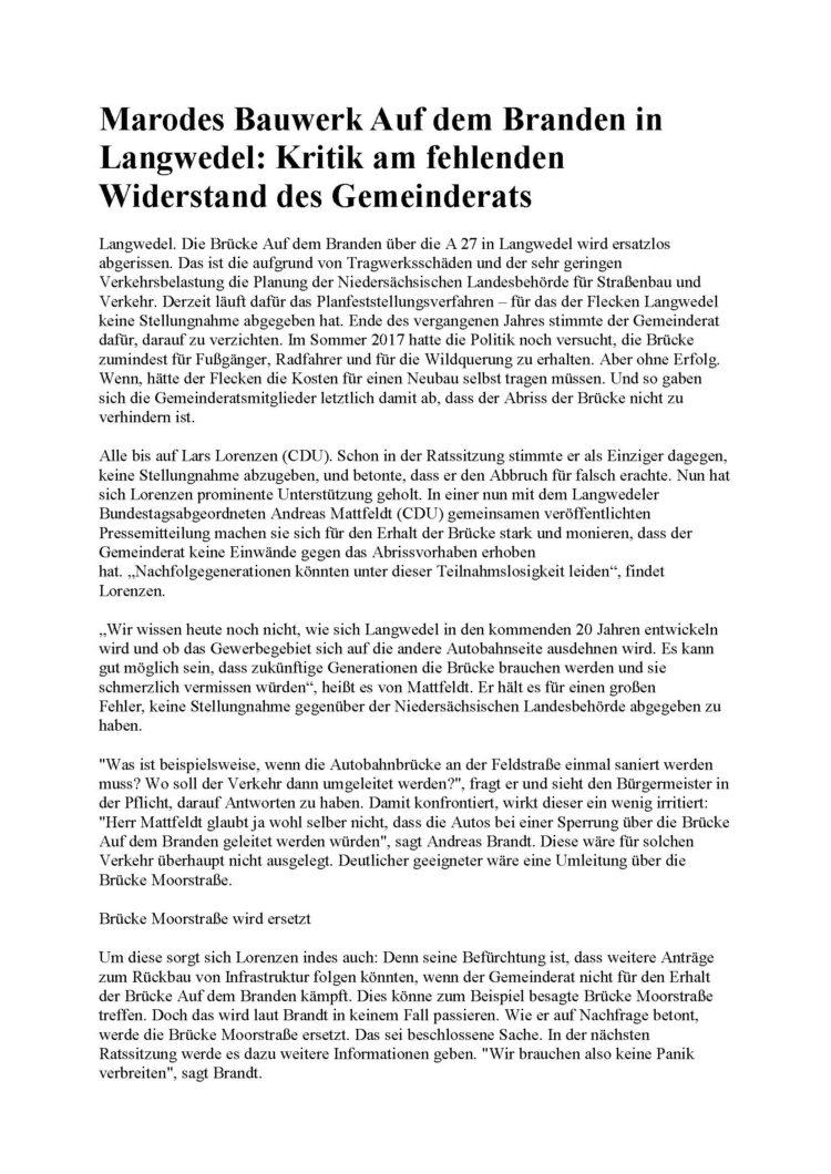 CDU-Duo gegen Brückenabriss