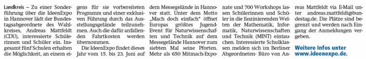 Mattfeldt lädt Schüler zur IdeenExpo nach Hannover ein
