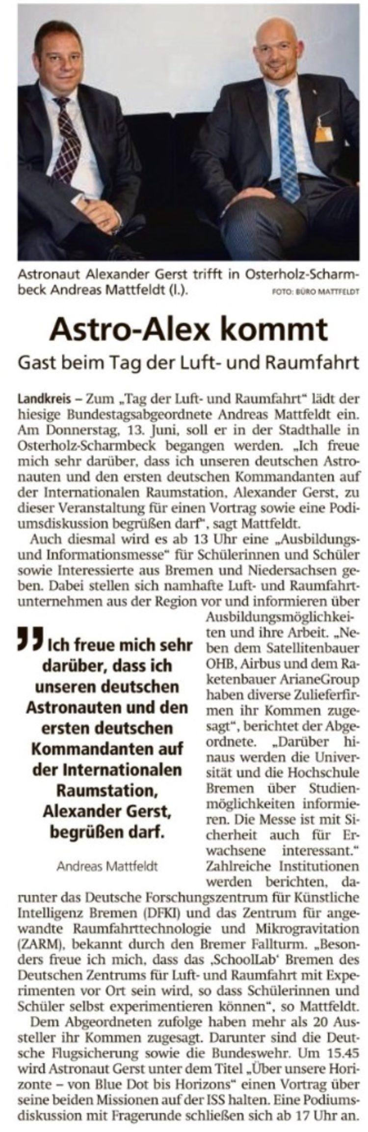 Einladung zum Tag der Luft- und Raumfahrt mit Alexander Gerst