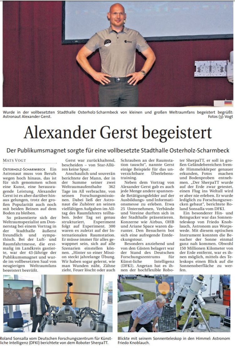 Mattfeldt holt Alexander Gerst nach Osterholz-Scharmbeck