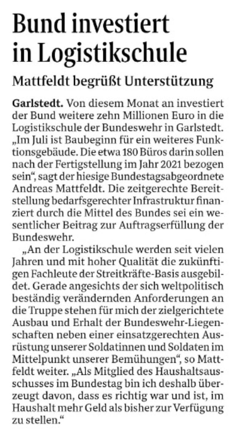 Geld vom Bund für den Ausbau der Logistikschule in Garlstedt