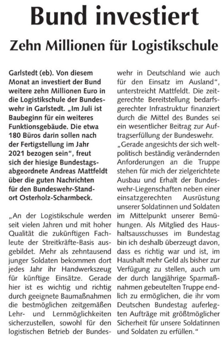 Bund investiert in der Kaserne Garlstedt