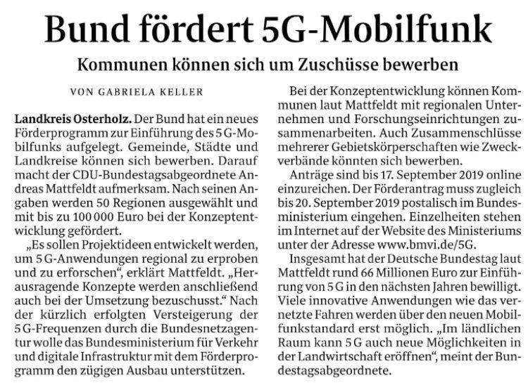 Mobilfunk-Ausbau: Zuschüsse für Kommunen