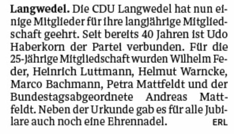 CDU Langwedel ehrt Jubilare