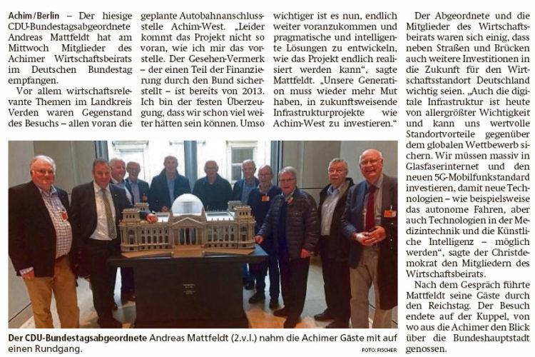 Wirtschaftsbeirat zu Gast im Bundestag