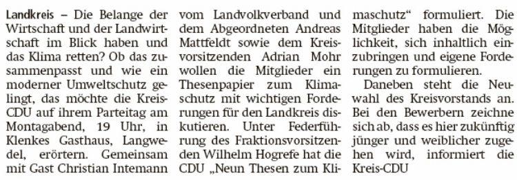 Neun Thesen und ein neuer CDU-Kreisvorstand