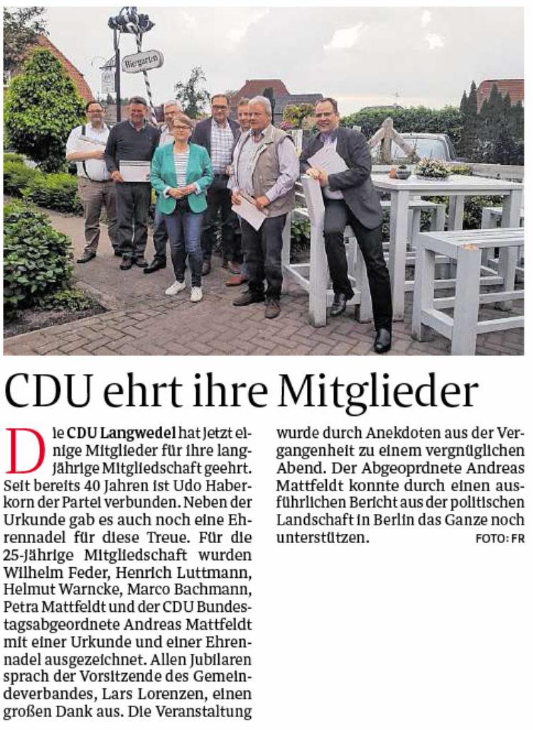 CDU ehrt ihre Mitglieder