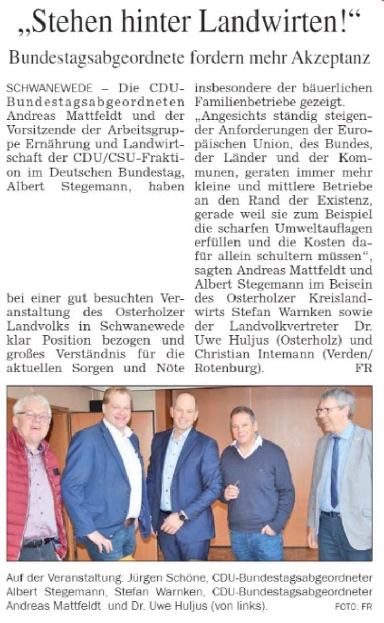 Die CDU steht an der Seite der Landwirte!