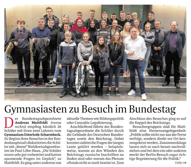 Osterholzer Gymnasiasten zu Besuch im Bundestag
