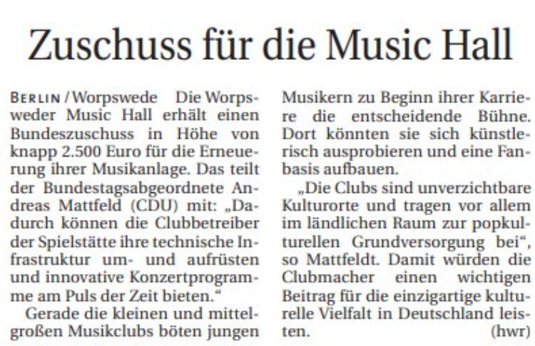 Bund fördert Music Hall Worpswede