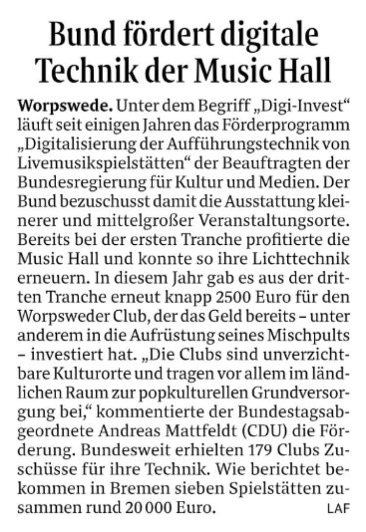 Geld vom Bund für Music Hall