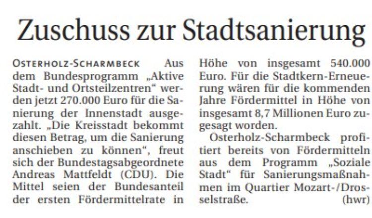 Anschubfinanzierung für Osterholz-Scharmbeck