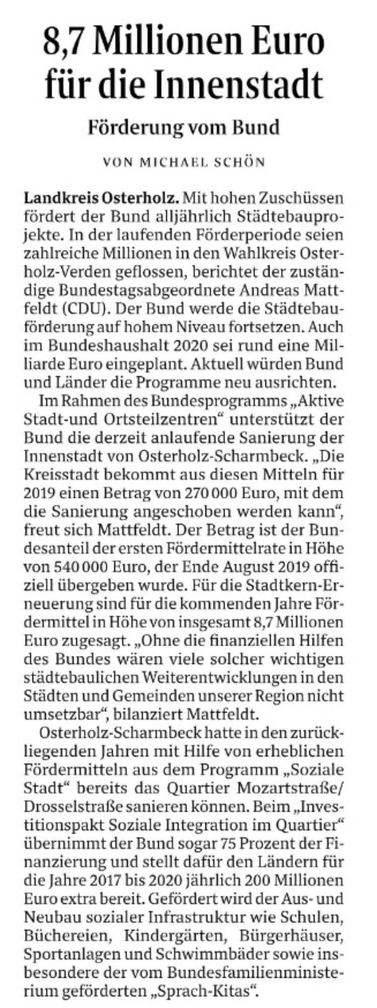 Millionen vom Bund für die Stadtentwicklung