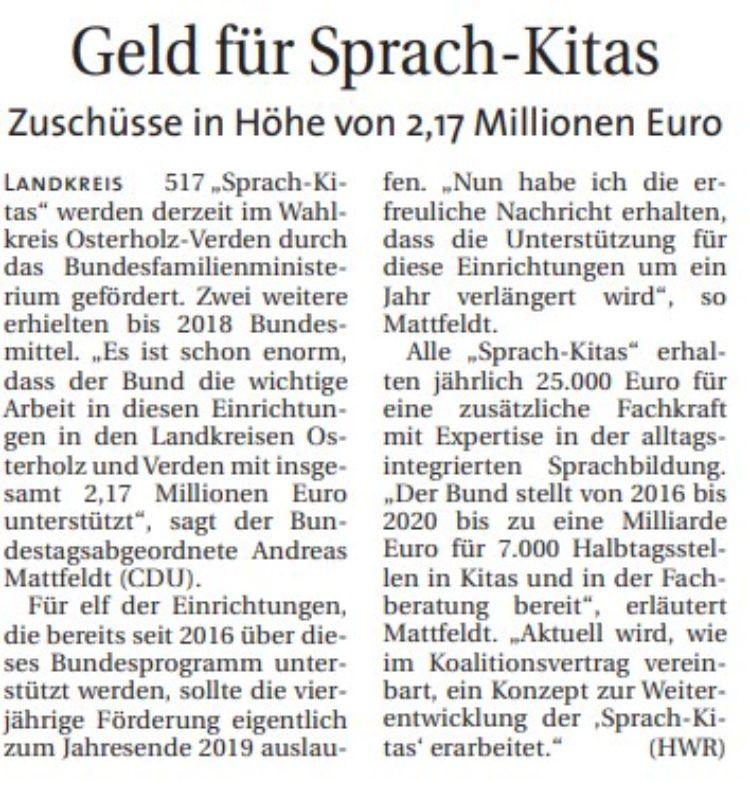 Bund unterstützt Sparchkitas im Wahlkreis