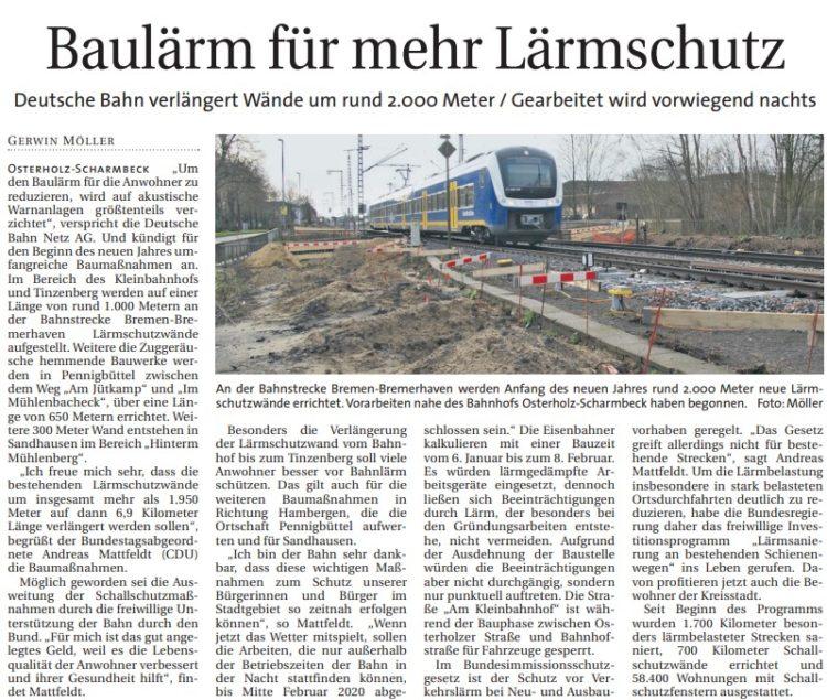 Ausbau des Lärmschutzes in Osterholz-Scharmbeck geht weiter