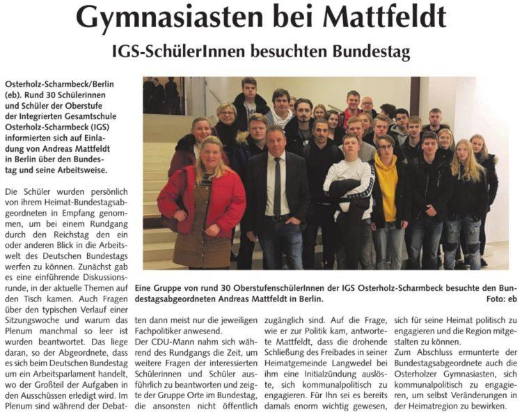 Schüler besuchen ihren Bundestagsabgeordneten