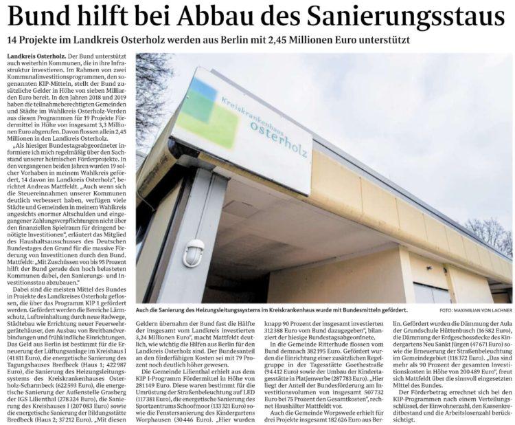 2,45 Millionen Euro vom Bund für den Landkreis Osterholz