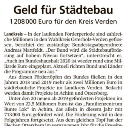 Bund gibt 1,2 Millionen Euro für den Landkreis Verden