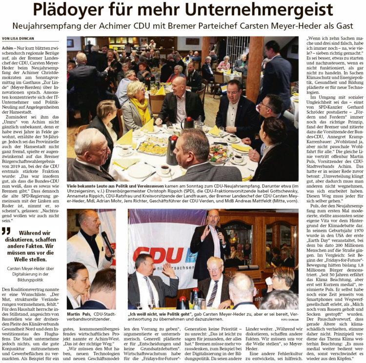 Neujahrsempfang beim CDU-Stadtverband Achim