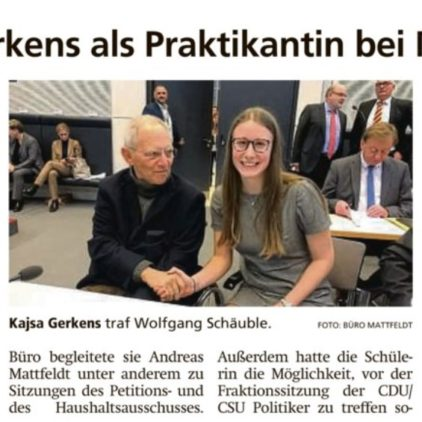 Kirchlintelner Praktikantin im Bundestag